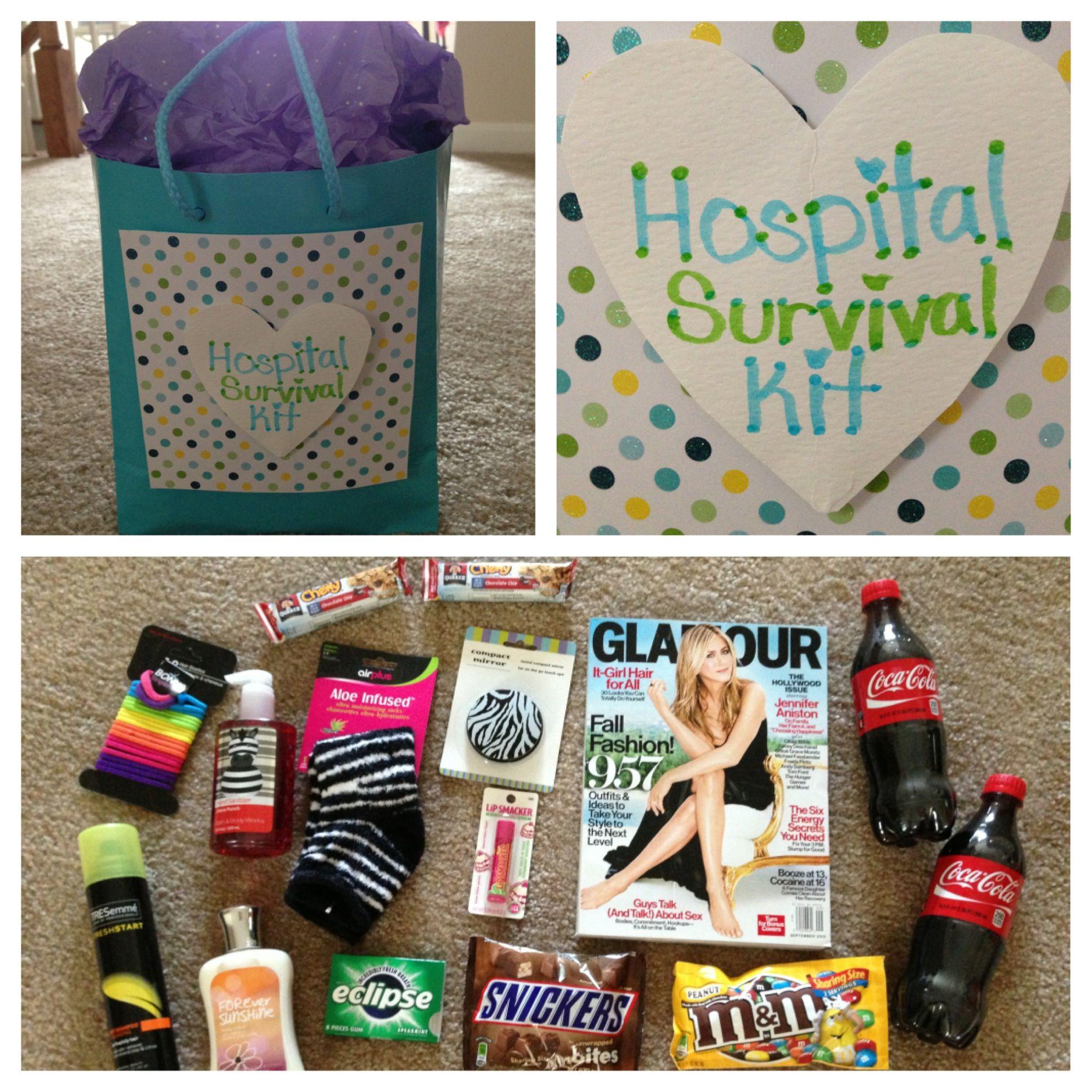 Hospital Survival Kit Including A Magazine Fuzzy Socks Hair
