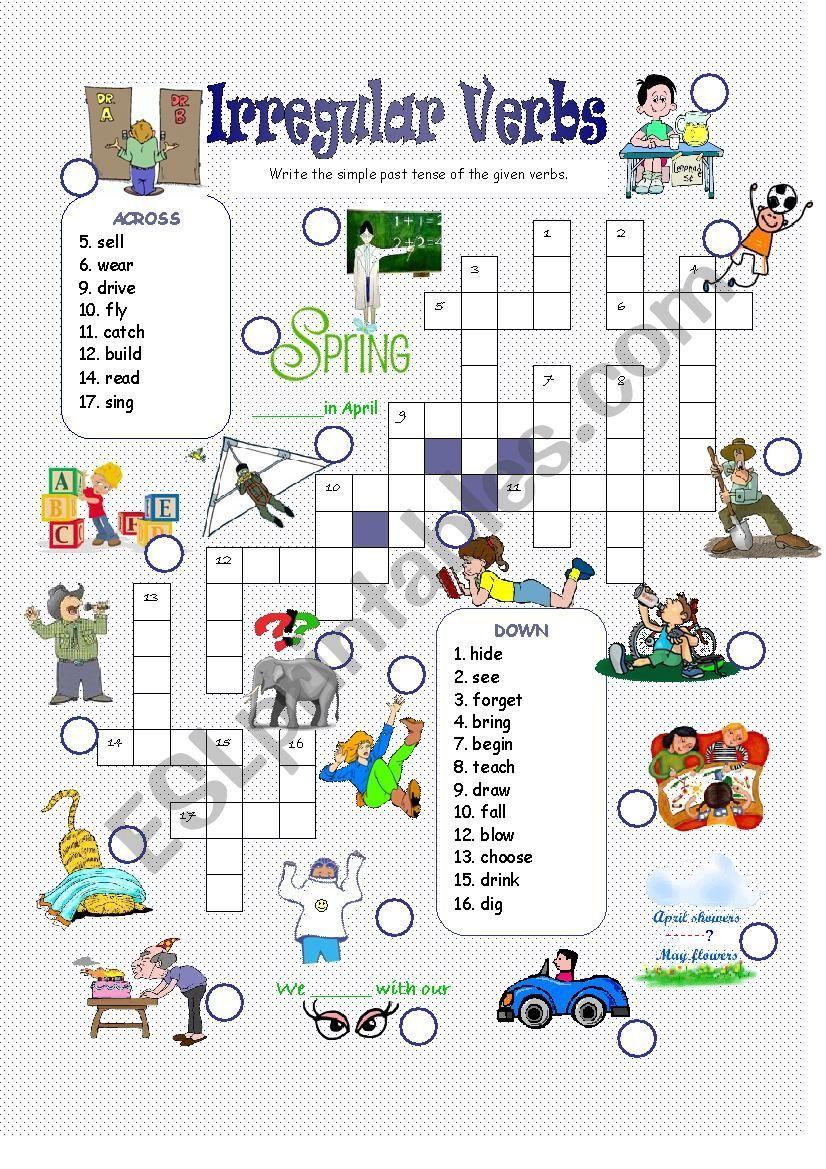 Crosswords Past Simple Irregular Verbs ESL worksheet