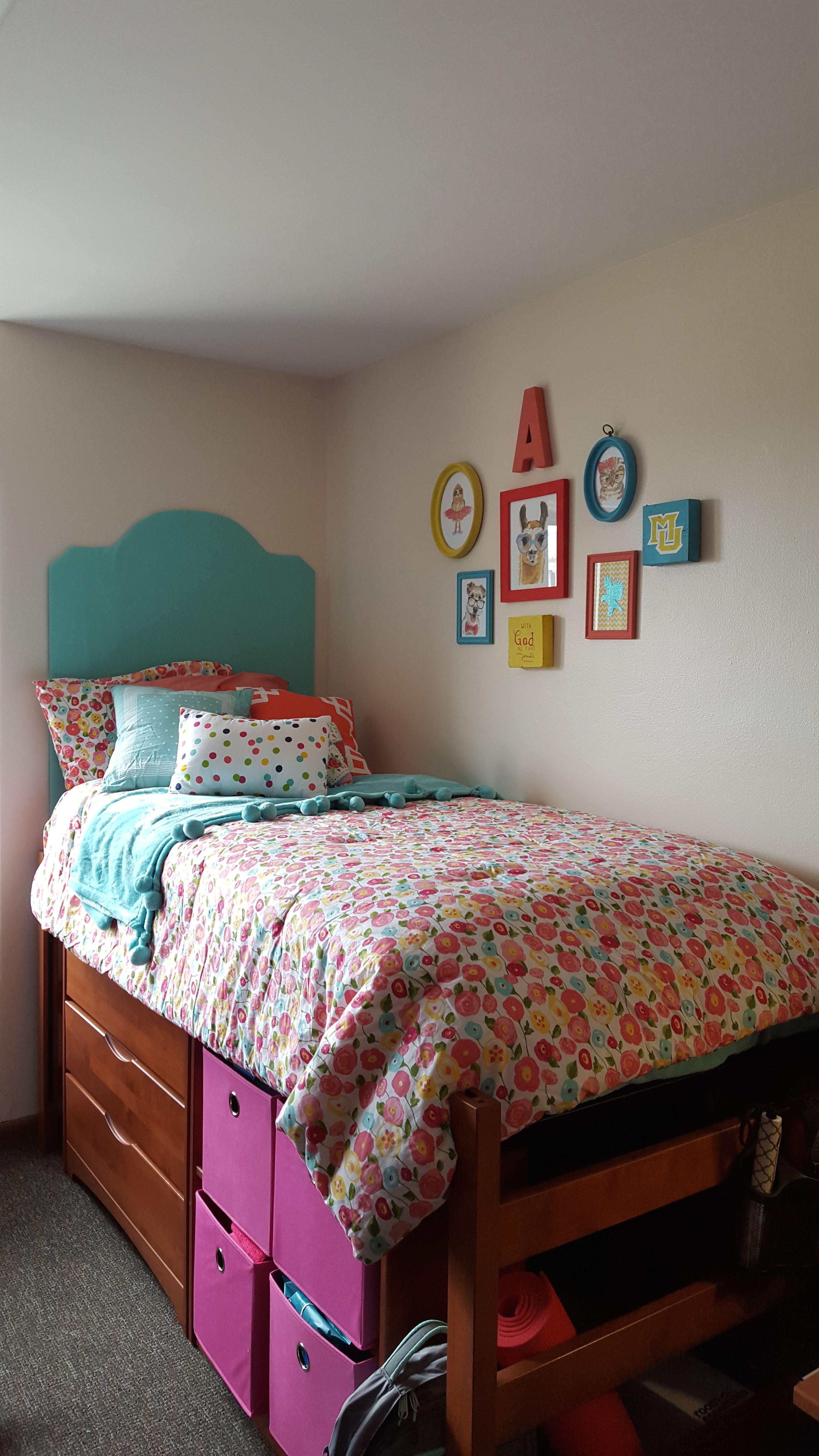 My freshman dorm room at Marquette University DIY art and headboard
