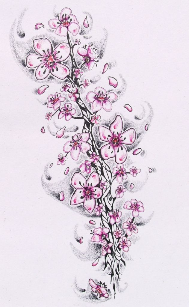 Black And White Cherry Blossom Tattoos Cherry Blossom Tattoo Stencils Unique Cherry Blossom Cherry Blossom Tattoo Blossom Tattoo Black And White Flower Tattoo