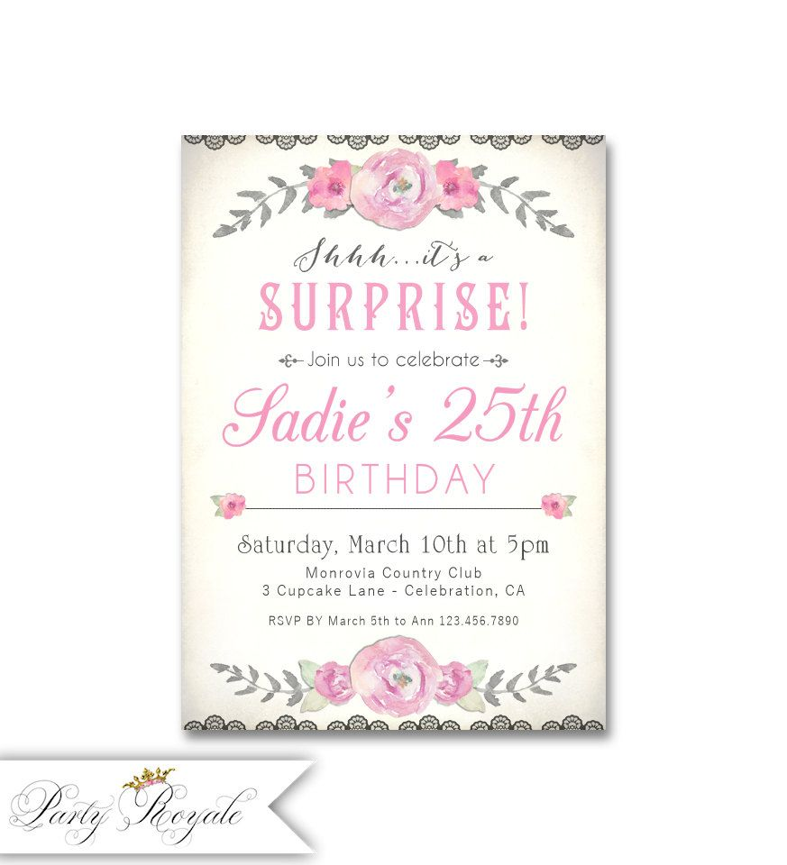 Download Now 25th Surprise Birthday Party Invitations | FREE ...
