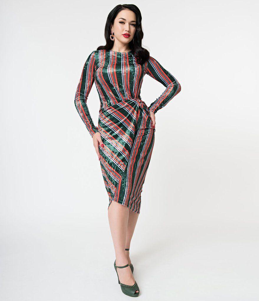 S style emerald u orange stripe velvet long sleeve wiggle dress
