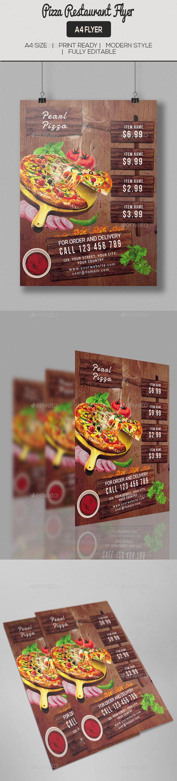 Pizza Restaurant Flyer   Pizzería, Tipografía y Restaurante