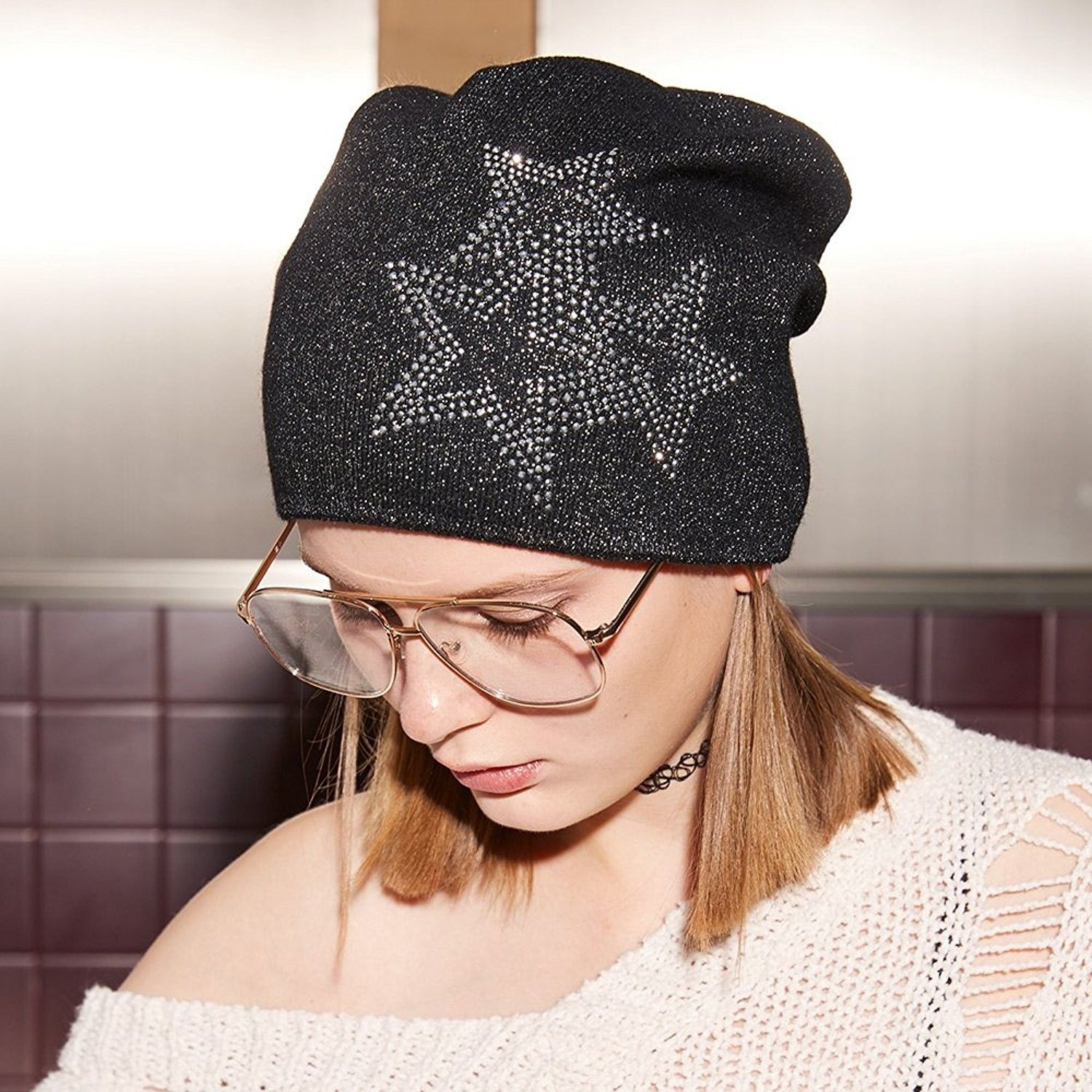 ce0ff6f176e Beanie Hats For Women Winter Knit Beanie Hat Silver Sparkles Fall Wool Hat  - Black - C2186HIIQEK - Hats   Caps