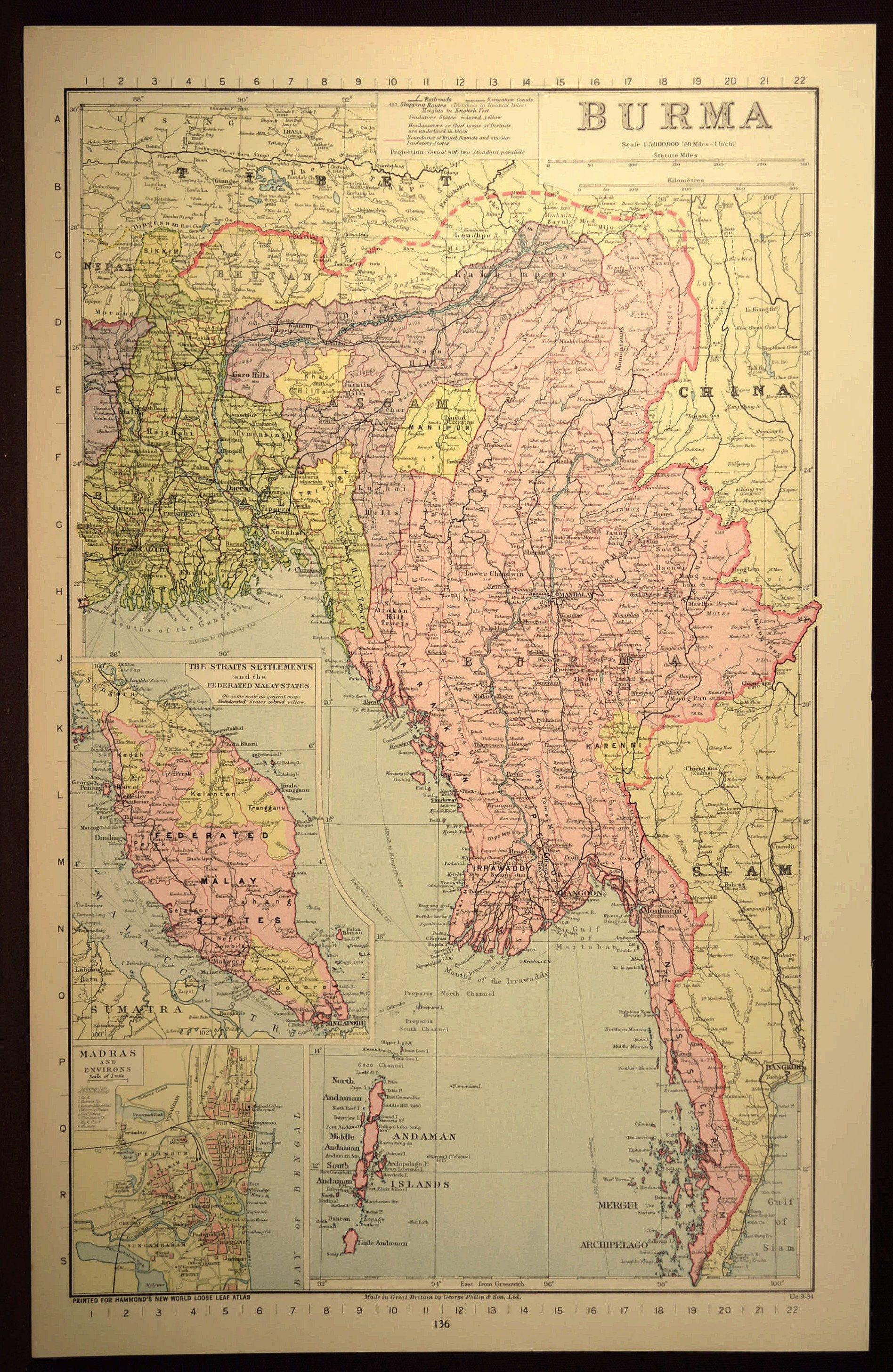 Burma Map of Burma Southeast Asia Calcutta Thailand Siam Map Wall