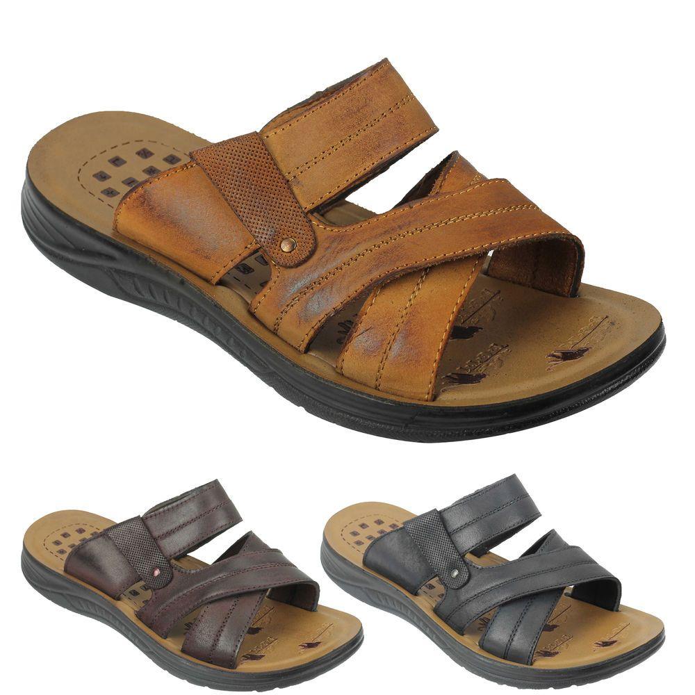 8640664391fd Mens Black Leather Cross Straps Jesus Sandals Walking Slippers Size 6 7 8 9  10