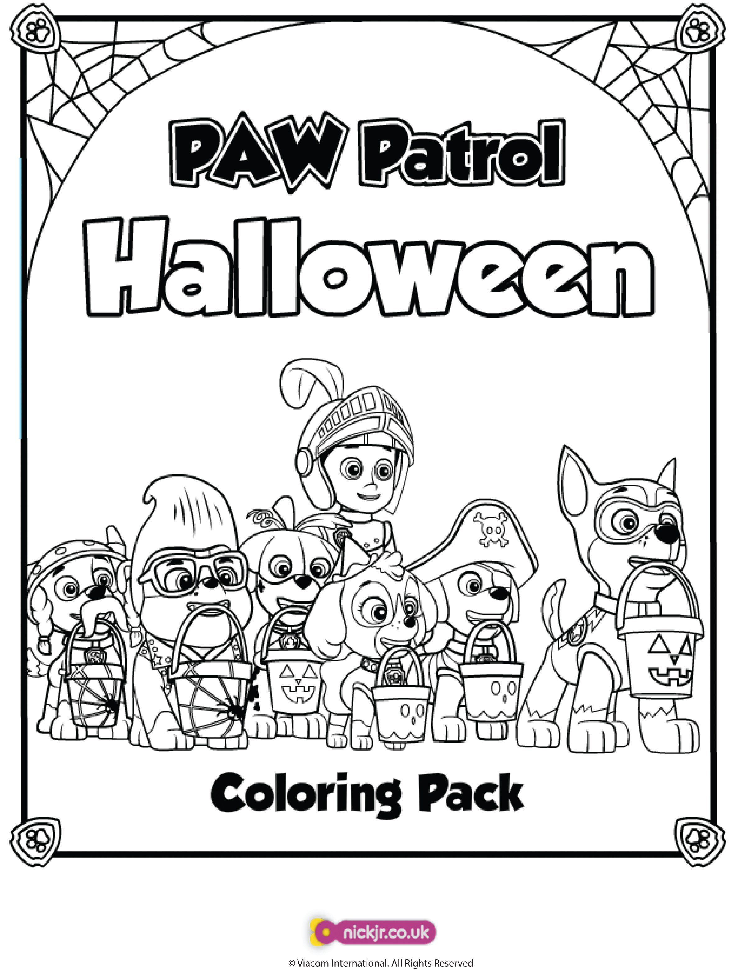 Printable coloring pages nick jr - Paw Patrol Halloween Coloring Pages