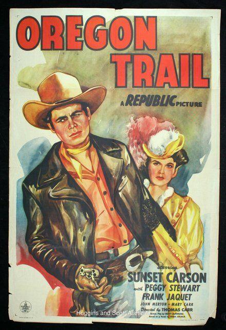 oregon trail a republic picture vintage western cowboy movie poster