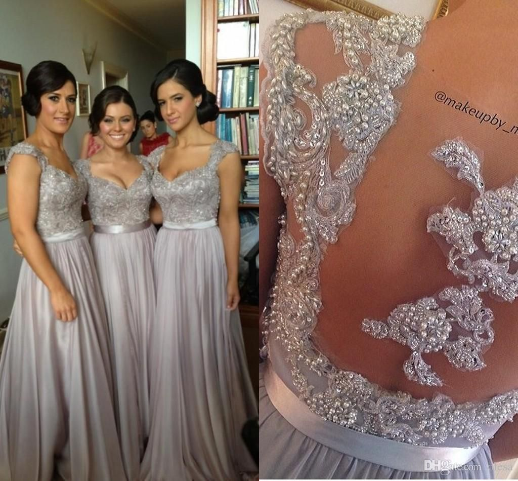 Cheap 2016 new silver grey bridesmaid dresses long chiffon cheap 2016 new silver grey bridesmaid dresses long chiffon bridesmaid dress appliques sheer back short sleeves evening gowns bridesmaids dresses as low as ombrellifo Images