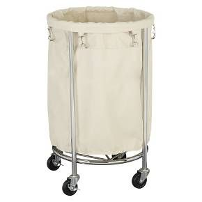 Household Essentials Round Laundry Hamper With Removable Bags White With Images Laundry Hamper Commercial Laundry Household Essentials