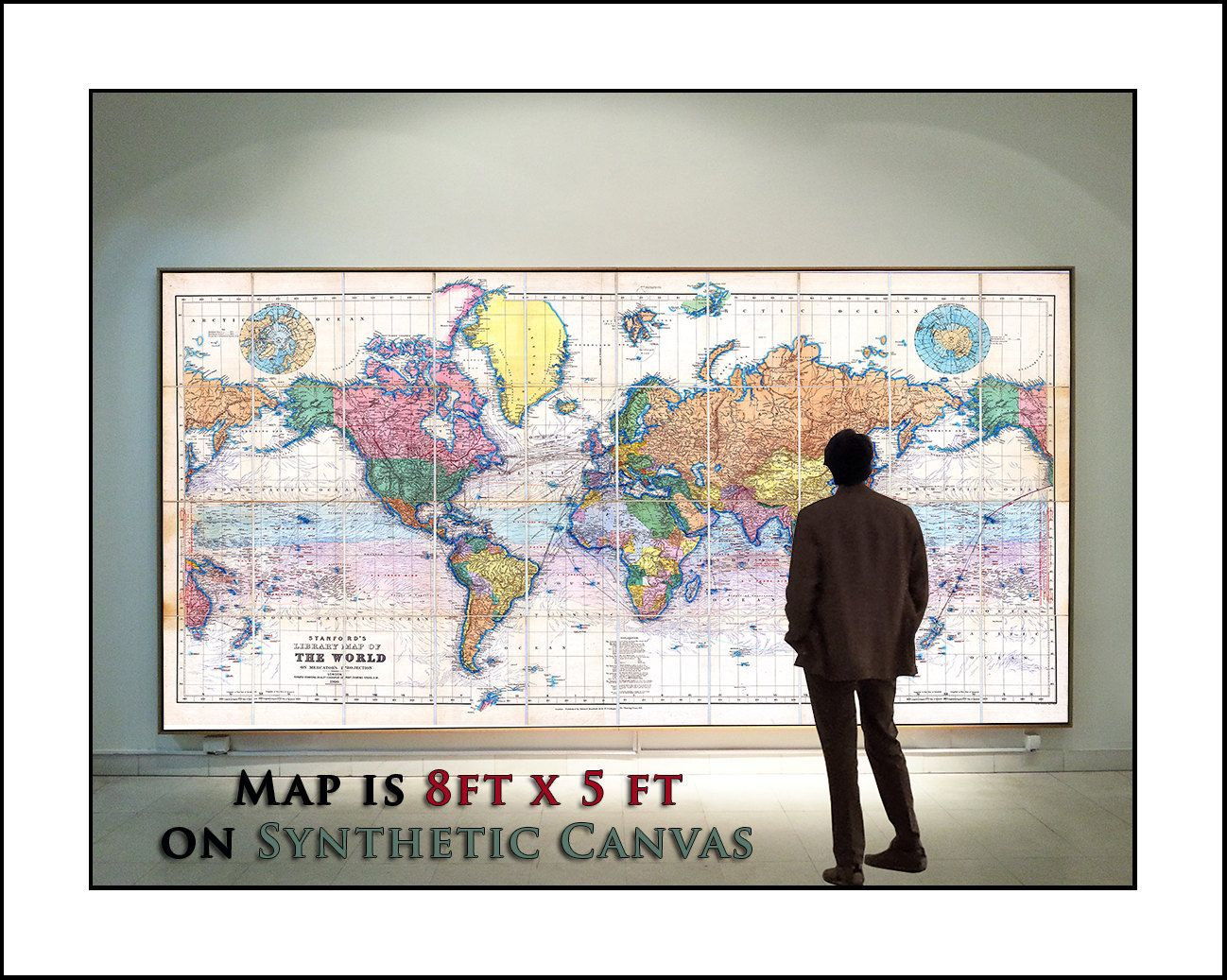 Map of the World, World Map on 5foot x 8foot Synthetic Canvas, HUGE and Very COOL par WaterColorMaps sur Etsy https://www.etsy.com/fr/listing/194014604/map-of-the-world-world-map-on-5foot-x