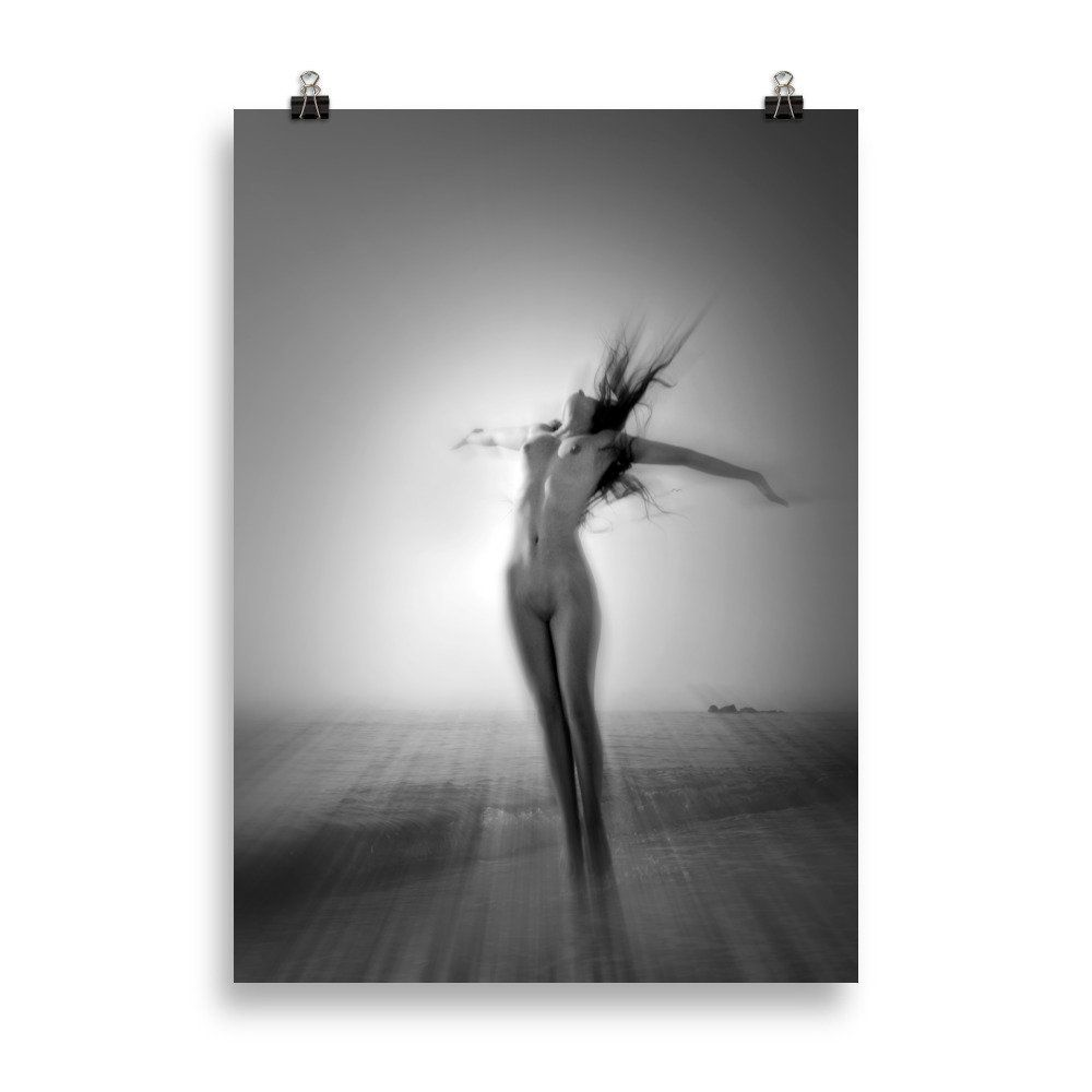 FREEDOM Print, Art Nude Photography, Woman Nude, Black