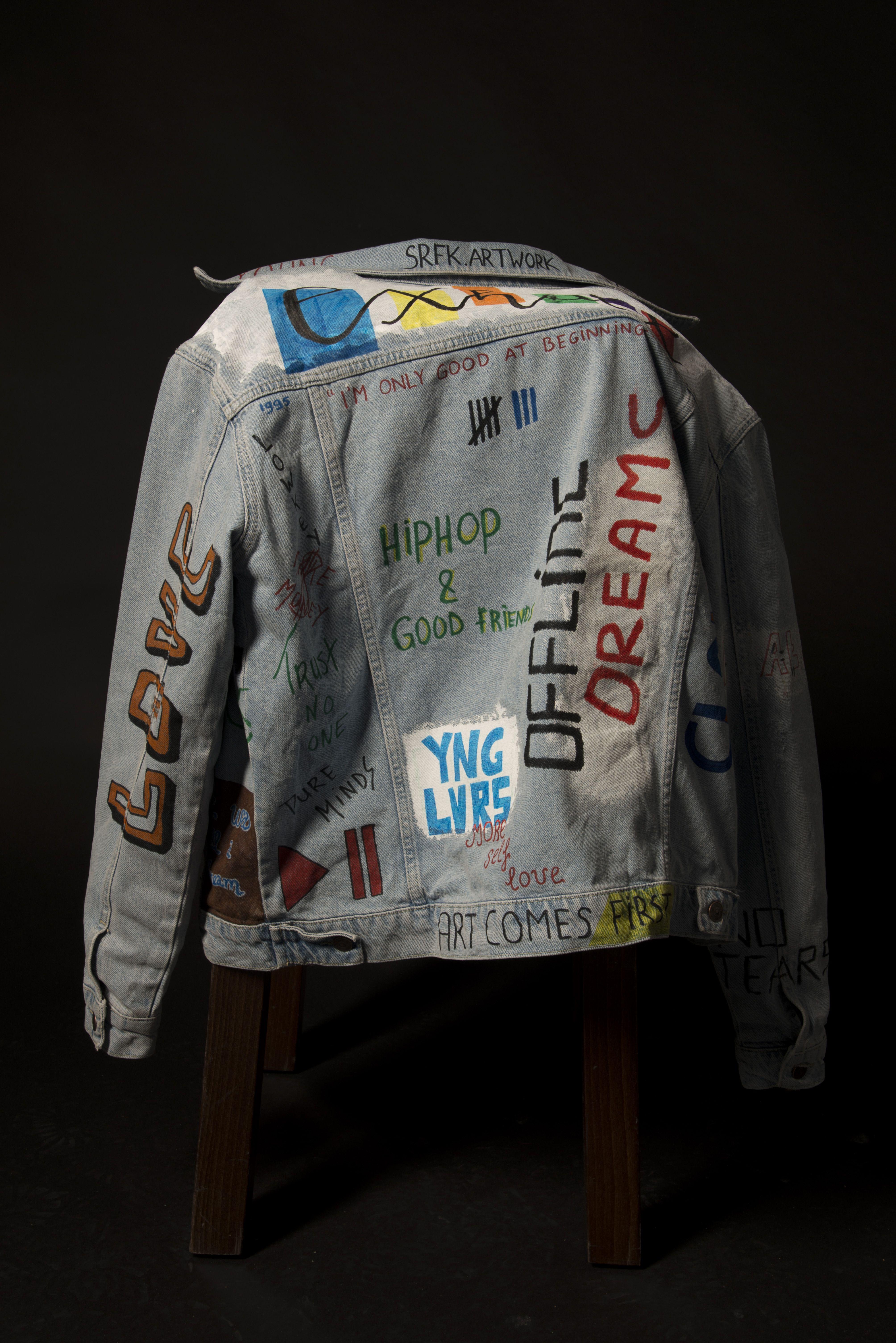 9b2424326b6d Custom marker text jacket.