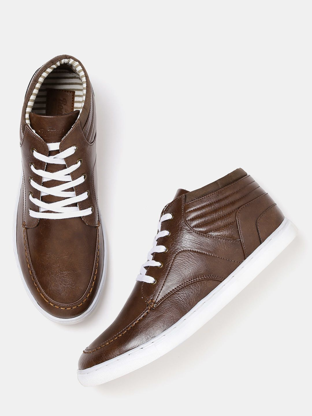 eecb30f349e8 Roadster Brown Solid Mid-Top Sneakers