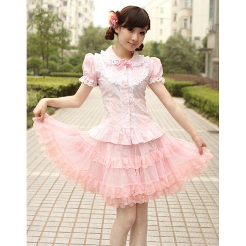Petite Plus Size Pink Short Sleeve Lolita Dress Shirt Blouse Women