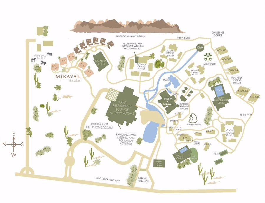 Amenities Resort Map Arizona Resort Spa Miraval Arizona