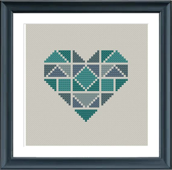 geometric modern cross stitch pattern heart, set of 3, valentine ...