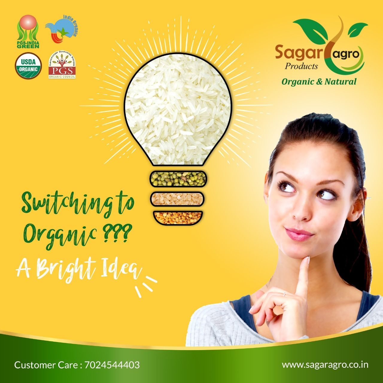 Switch to #OrganicFood today for a #Better #Ideas in life. #SagarAgro offers #GoodHealth in packed organic products just for you. Happy #Eating #Happyliving. Visit: www.sagaragro.co.in #Organic #Natural #OrganicFood #OrganicProducts #OrganicFarming #PesticidesFree #ChemicalFree #Healthy