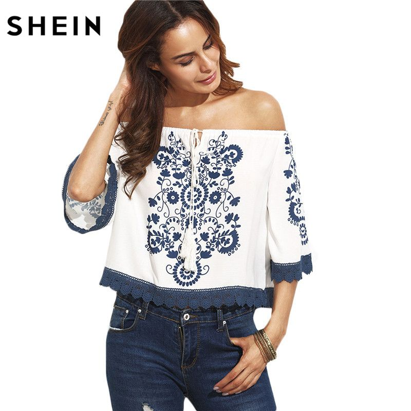 c6eb53563f7f10 SHEIN Womens Tops and Blouses for Summer Casual Ladies Blue Print in White Half  Sleeve Tie Off The Shoulder Blouse   Price   25.00   FREE Shipping ...