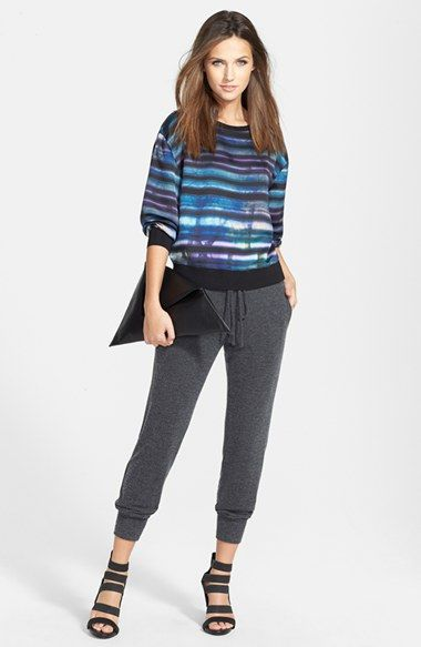 Trouvé Woven Sweatshirt, Velvet by Graham & Spencer Jersey Pants  available at #Nordstrom