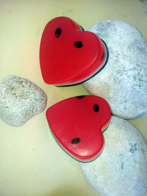 Watermelon heart glycerine soap by ElenisLittleShop on Etsy