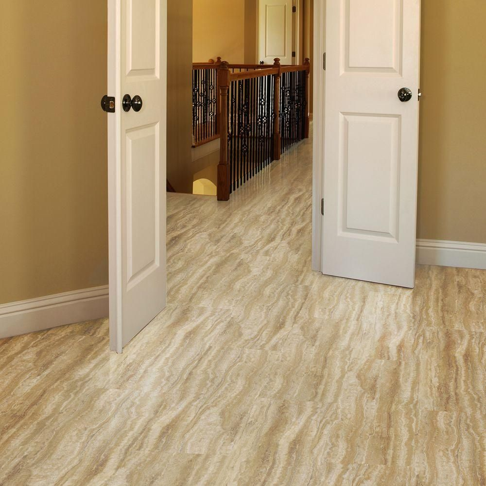Trafficmaster allure 12 in x 24 in ivory travertine luxury vinyl trafficmaster allure ivory travertine resilient vinyl tile flooring 4 in take home the home depot dailygadgetfo Images