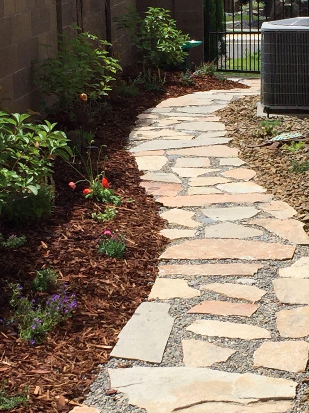 Garden path finished flagstone path backyard
