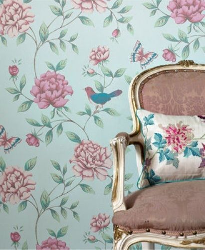 17869 Monsoon Isabelle Bird Floral Butterfly Blue Pink Pretty Feature Wallpaper