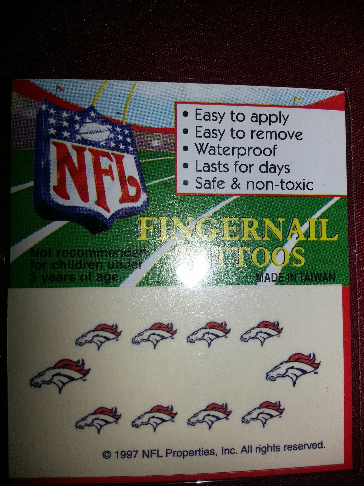 New NFL Variety of Teams Nail Decal Temporary Tattoo | Pinterest ...