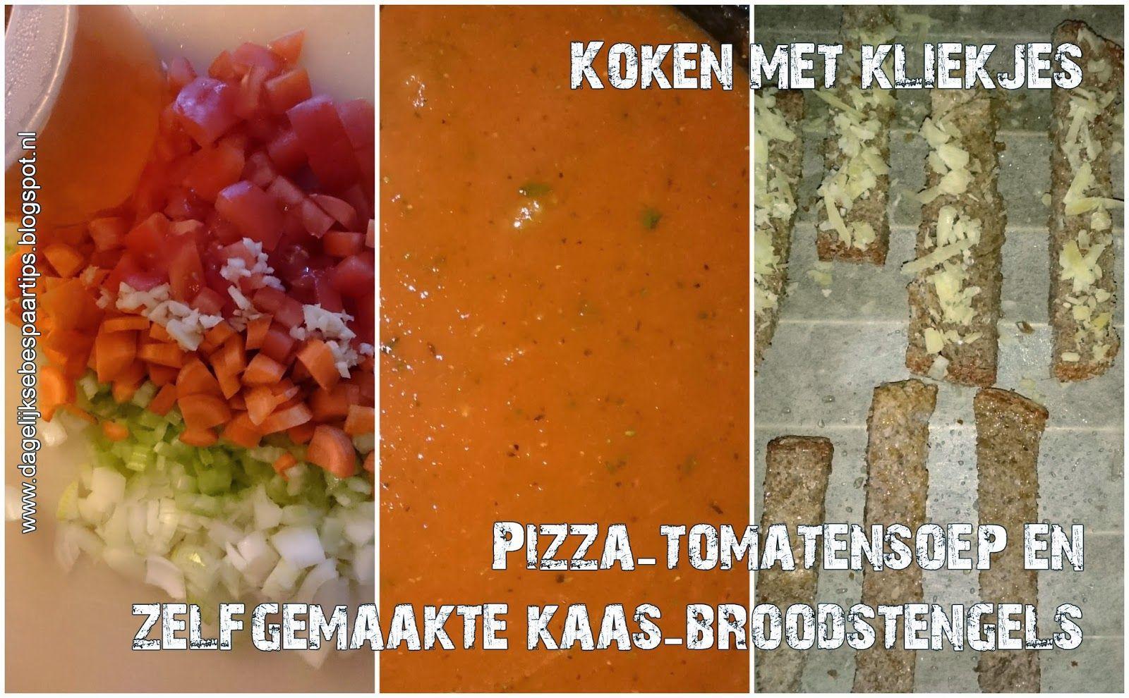 De makkelijke zaterdag. Pizza-tomatensoep met zelfgemaakte kaas-broodstengels