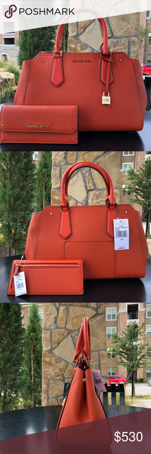 fabec5e58c45 Michael Kors Hayes LG Satchel + Wallet Persimmons GORGEOUS Fall Set---such a