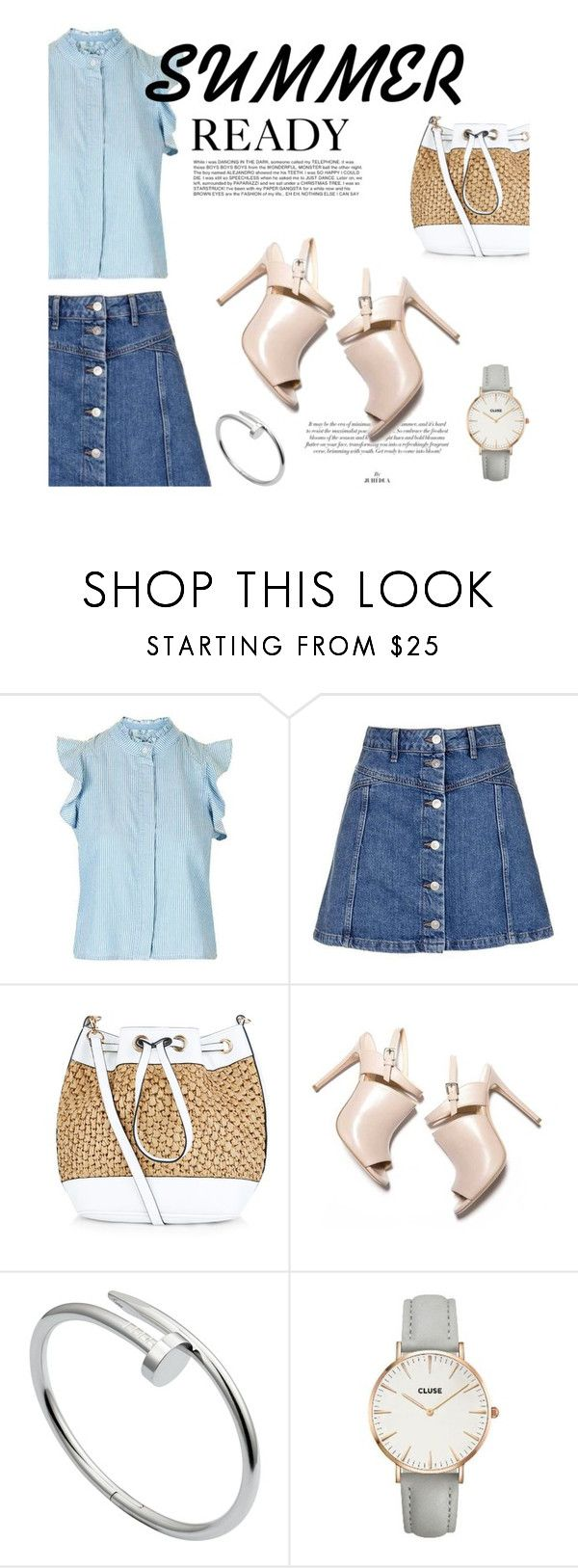 """""""Summer Ready: Frill Blouse"""" by tracey-mason ❤ liked on Polyvore featuring Topshop, New Look, Cartier and CLUSE"""