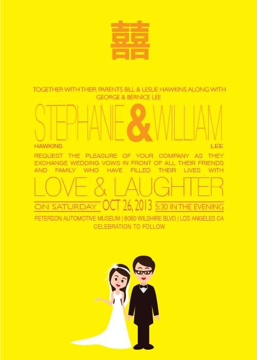 Asian Wedding Invitations With Double Happiness Symbol And