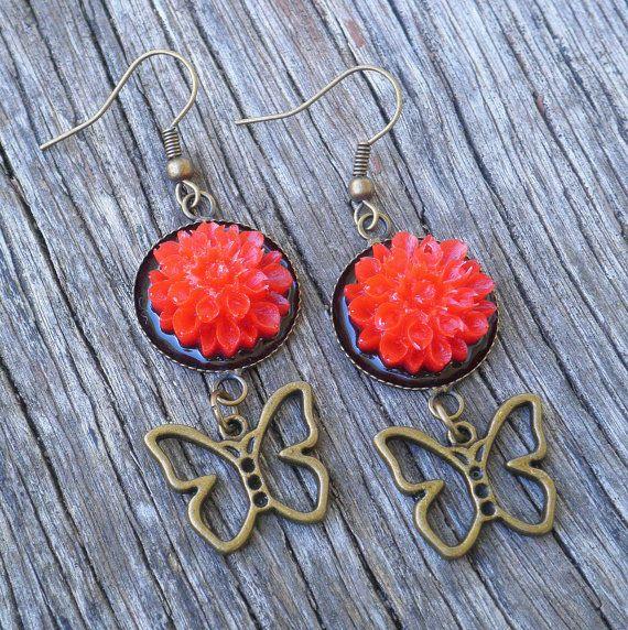 Red Flower Antique Brass Butterfly Earrings $20