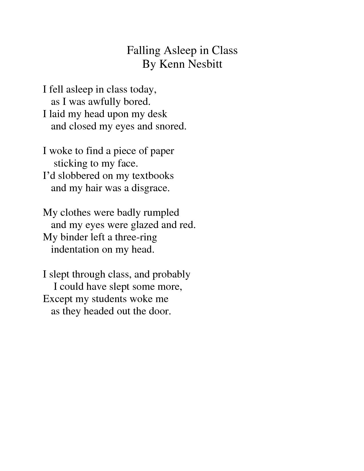 falling asleep in class by kenn nesbitt - Google zoeken   poetry ...