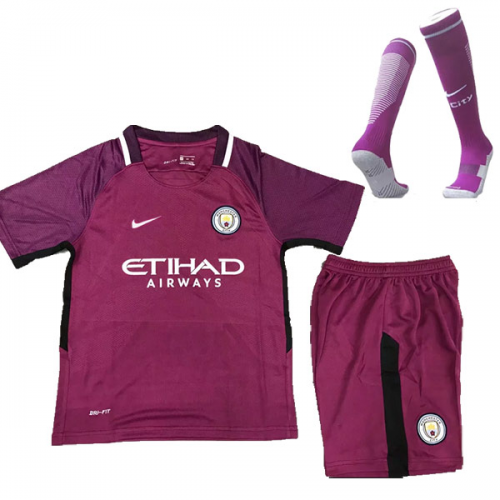 new product 3e77a 26e60 17-18 Manchester City Away Purple Children's Jersey Whole ...