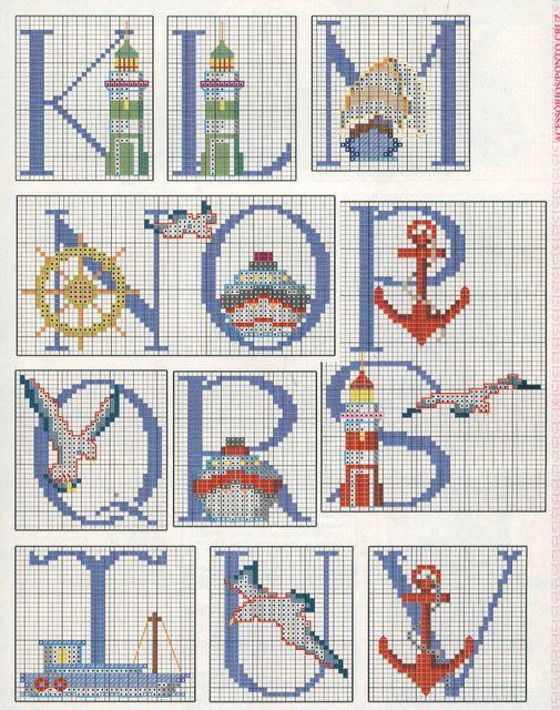 cross stitch - Schema Punto Croce Alfabeto Nautico 3 | Náutico ...