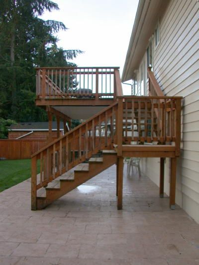 1 2 And 1 2 Exterior Stairs Deck Steps Outdoor Stairs | Patio With Stairs From House | Residential | Curved Paver | Main Entrance Stamped Concrete Front | Walkout Basement | Decorative