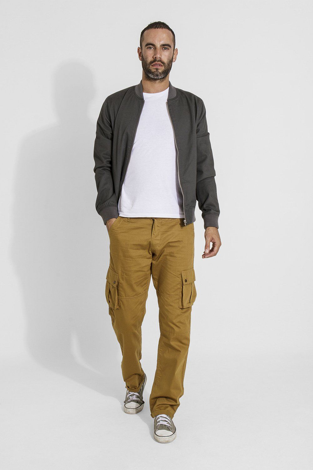 Firswood mens organic cotton loose fit cargo trousers