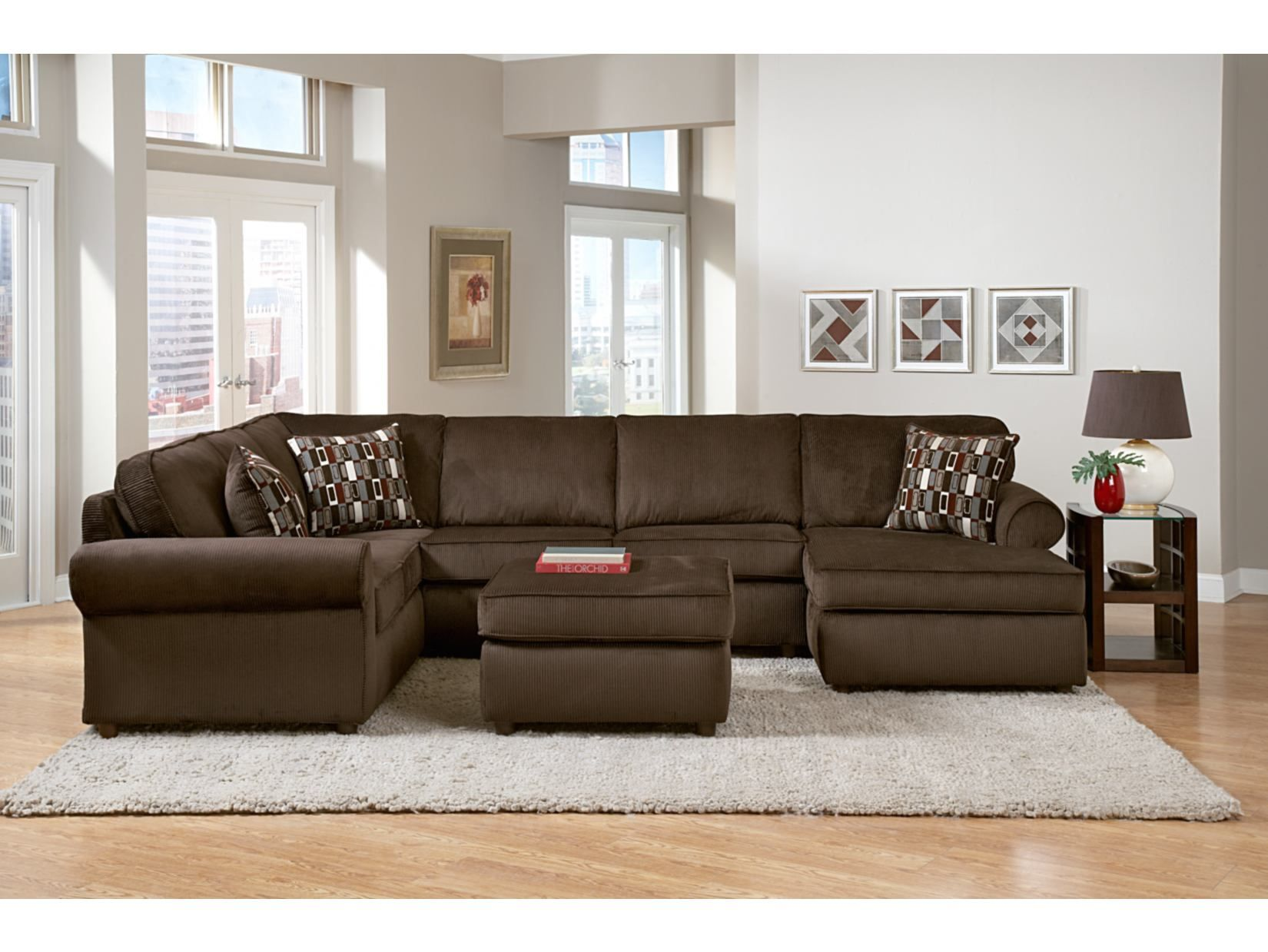 Value City Furniture Living Room Monarch Chocolate 3 Pc Sectional Value City Furniture