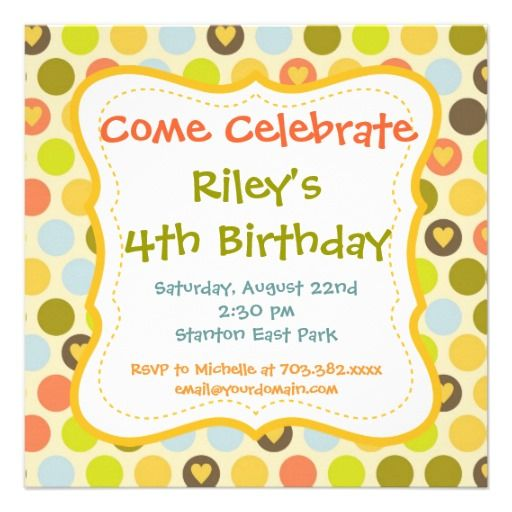 Retro Polka Dots Hearts Birthday Party Invitations
