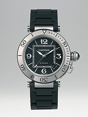 Cartier Pasha Seatimer Stainless Steel Watch On Black Rubber Bracelet