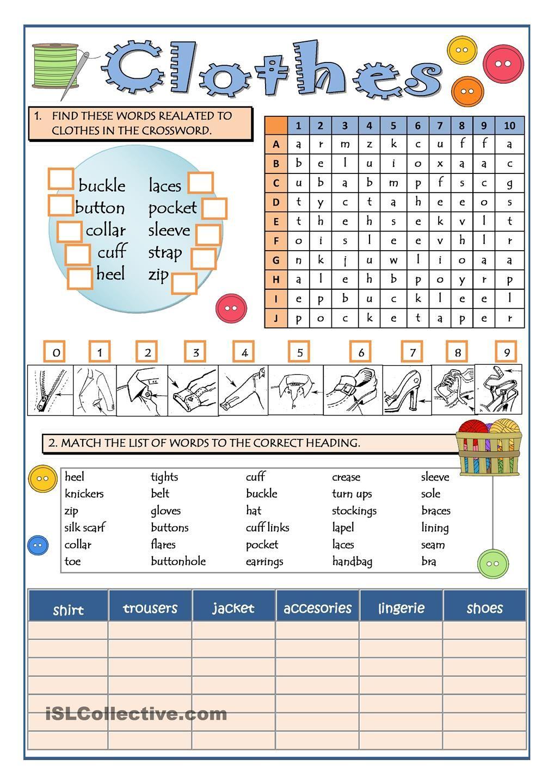 CLOTHES PART 1 | English Language, ESL, EFL, Learn English ...