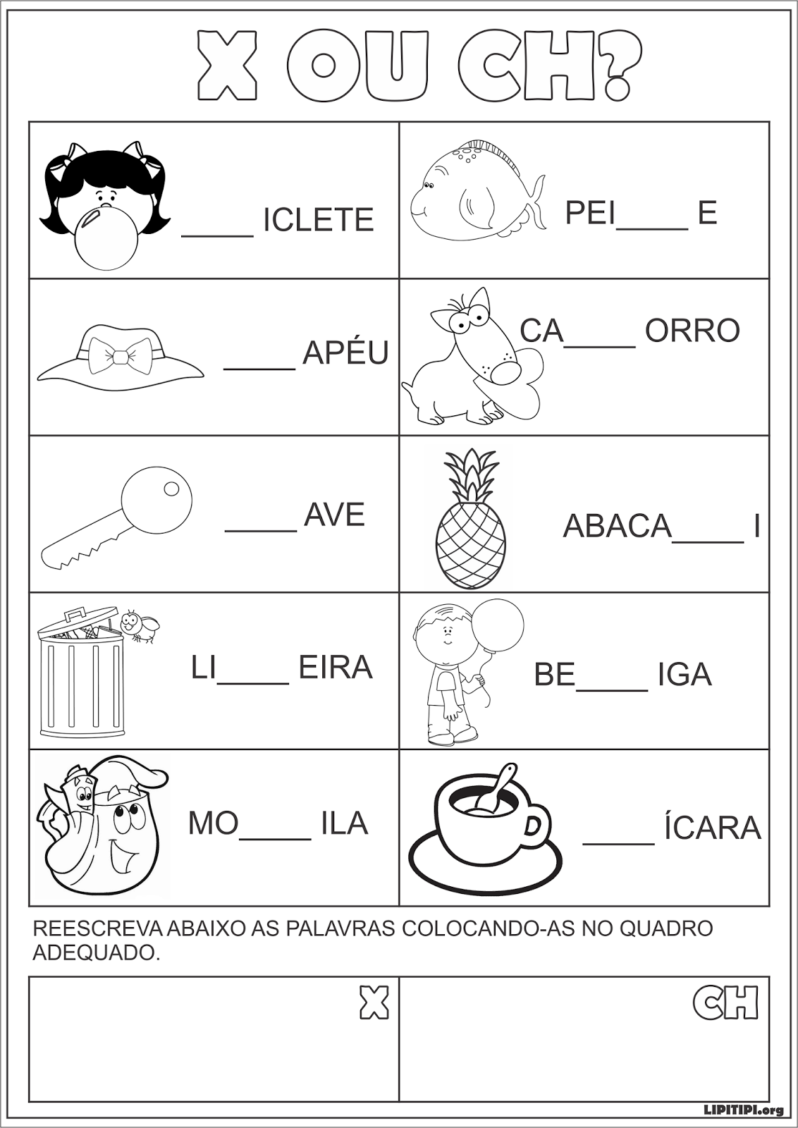 Atividade Silabas Complexas X E Ch Texto E Auto Ditado