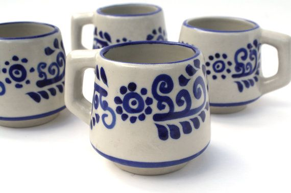 287725375a2 Set of 4 Mexican Pottery White and Blue Coffee Mugs , White and Blue ...