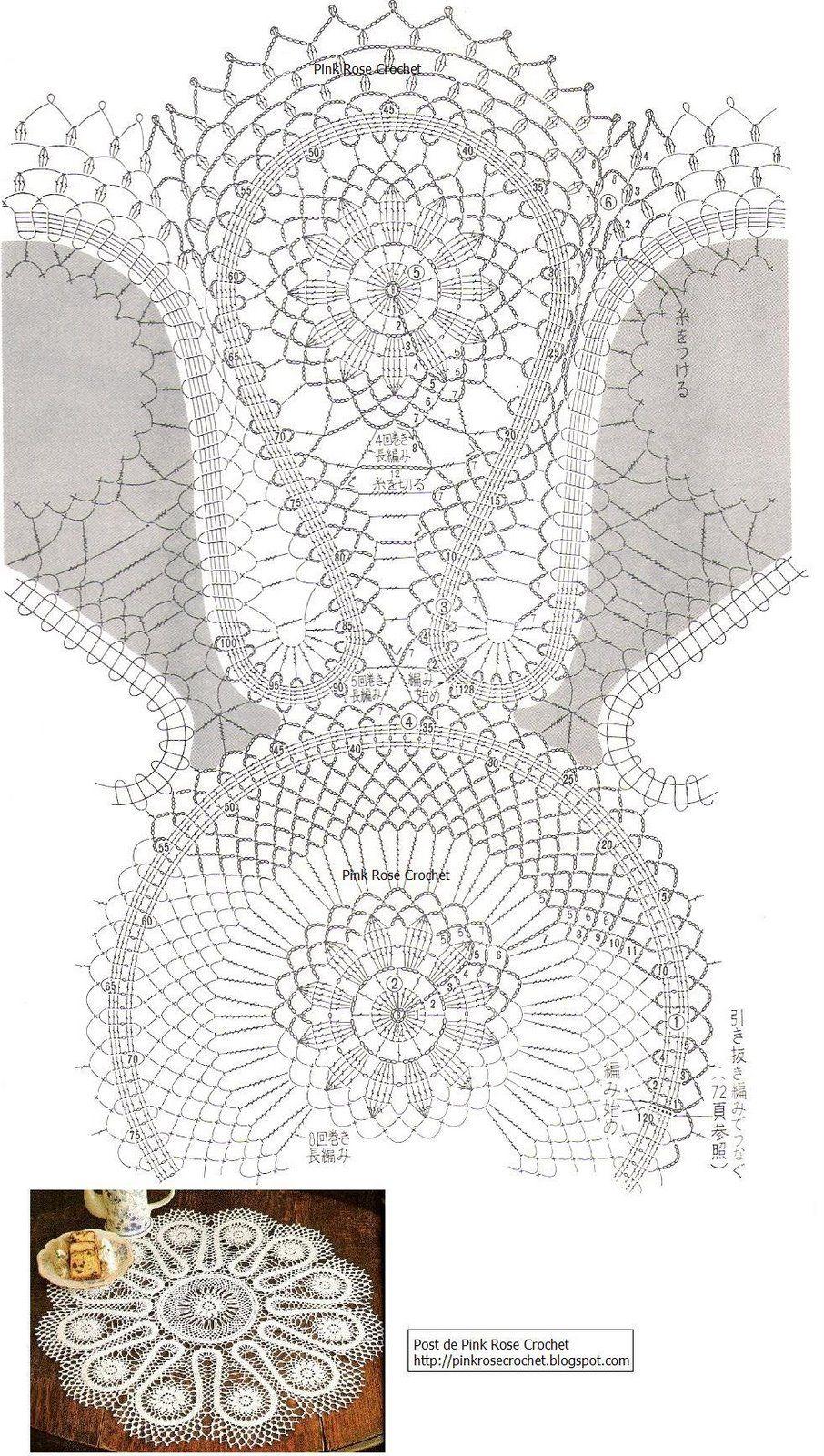 Toalha de Crochê . Gráfico - Crochet Table Topper   Crochet receitas ...