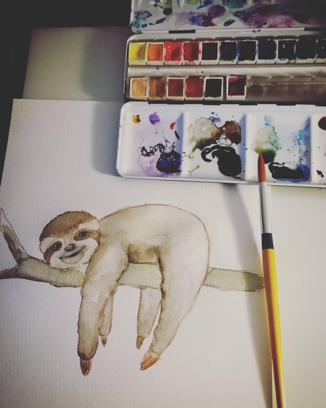 Manchmal braucht es nicht viel mehr als eine Hängematte und viiiel Sonnenschein Einfach mal die Seele baumeln lassen. #aquarell #faultier #sloth #makingof #watercolor #sunnywall #art #malerei #freigeist #leben #aquarelle #wasserfarben #cute #homesweethome #träume #faulenzer #selbstgemachteleinwandkunst