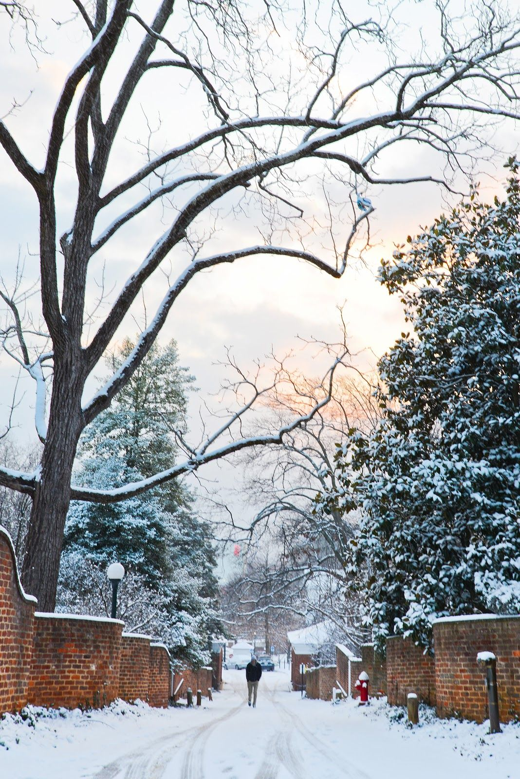 These curvy brick alleyways are so romantic. PUtting a couple in perspective between them would be beautiful ;) Snow at the University of Virginia Part I | Samantha Brooke Photography