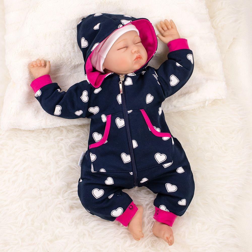 3b1924e8d7 Baby Sweets Overall Strampler Jumpsuit schwarzblau pink Herzen mit Kapuze    Strampler & Overalls   Mädchen