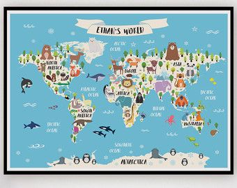 Animal world map birthday present animal poster world map art animal world map birthday present animal poster world map gumiabroncs Image collections